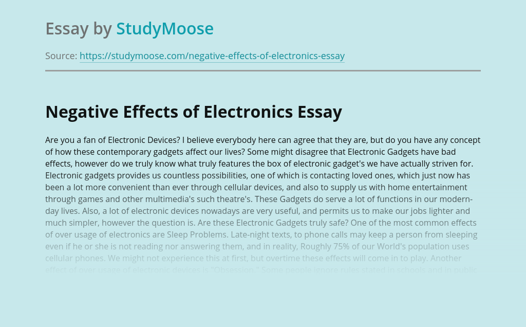 Negative Effects of Electronics