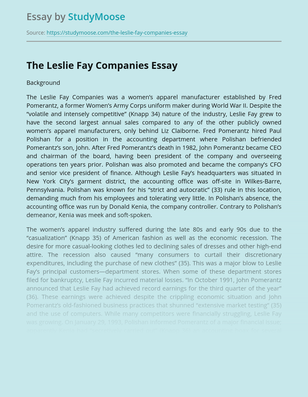 The Leslie Fay Companies