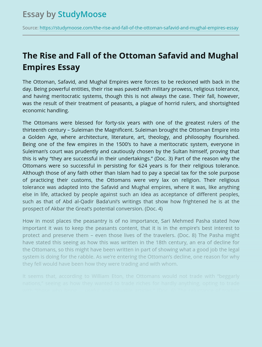 The Rise and Fall of the Ottoman Safavid and Mughal Empires