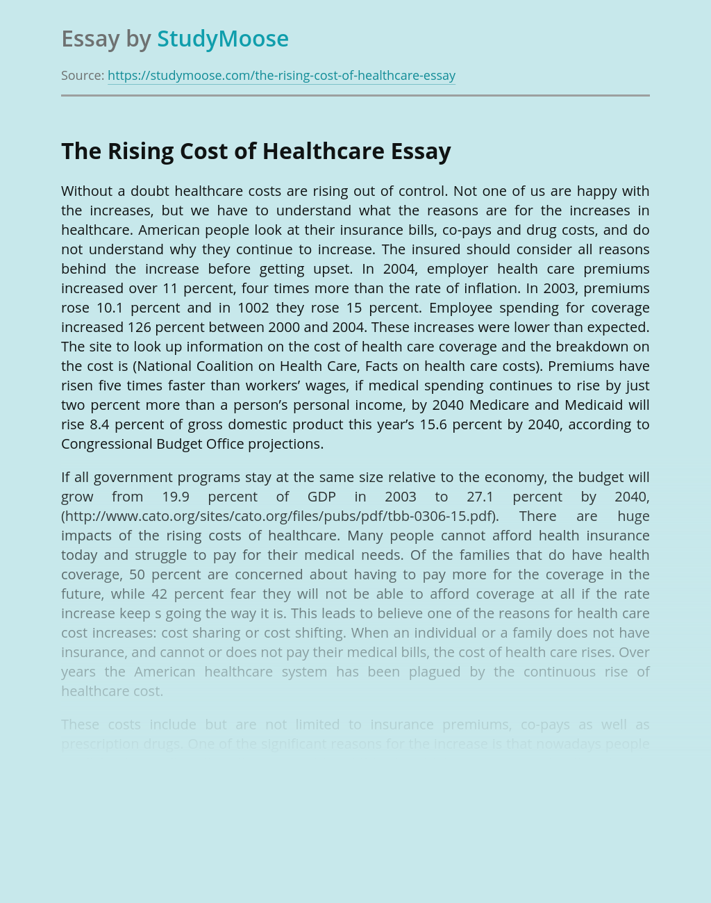 ?The Rising Cost of Healthcare