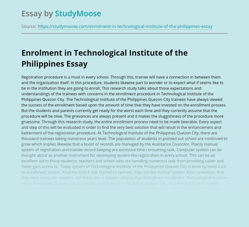 Enrollment in Technological Institute of the Philippines