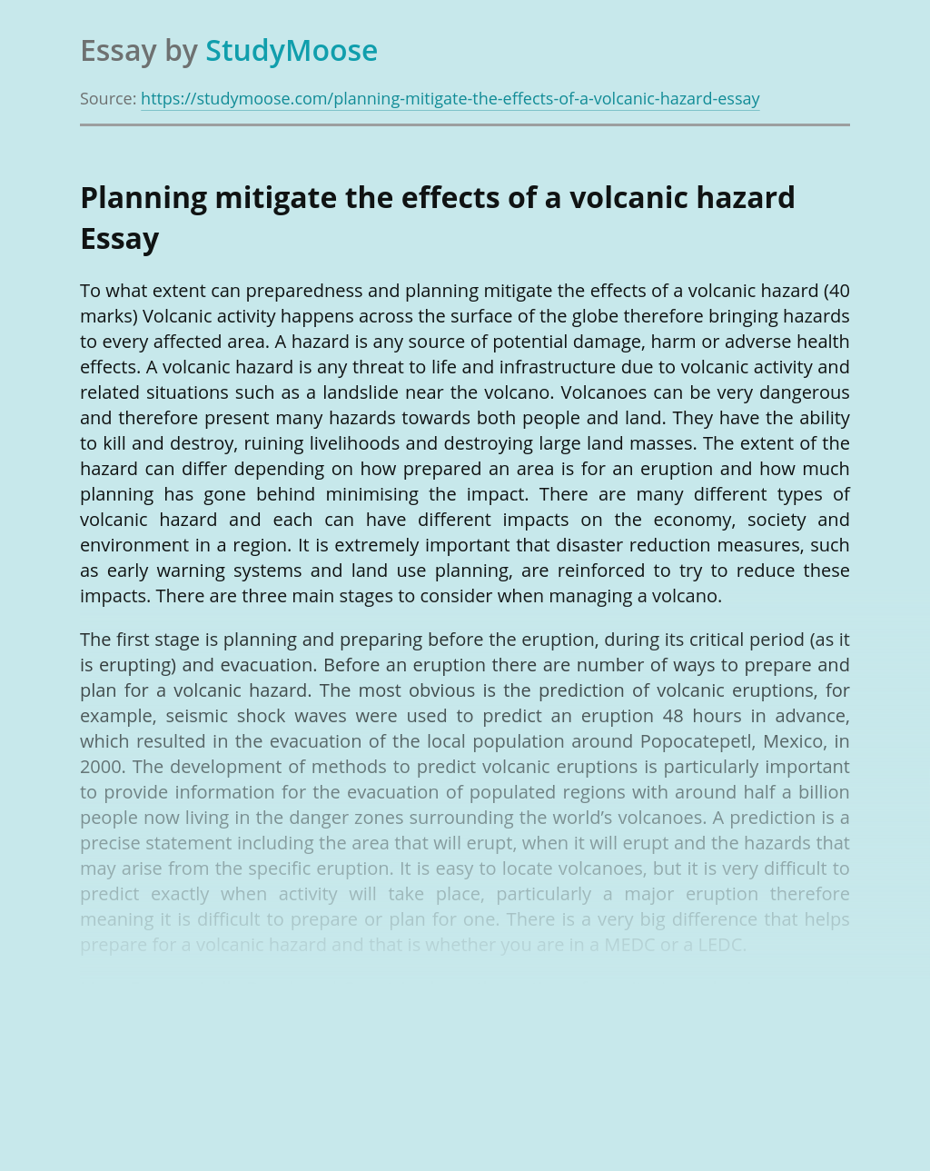 The Effects of a Volcanic Hazard