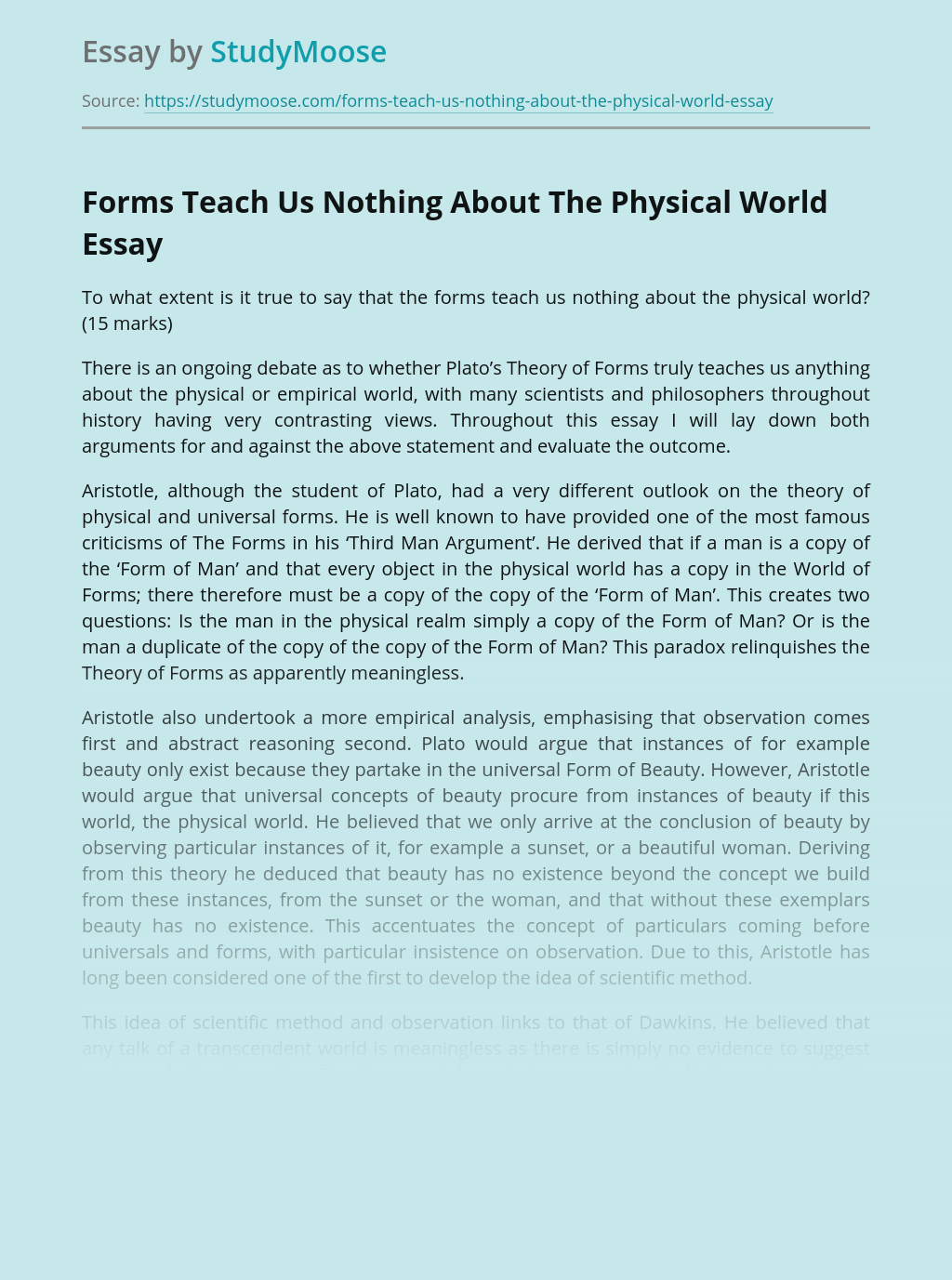 Forms Teach Us Nothing About The Physical World