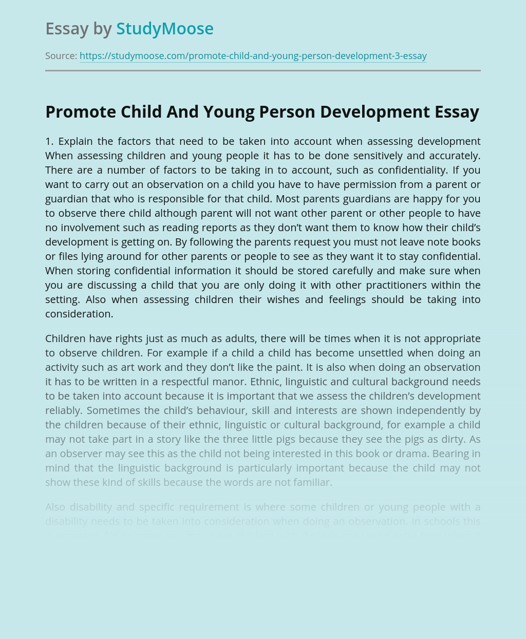 Promote Child And Young Person Development