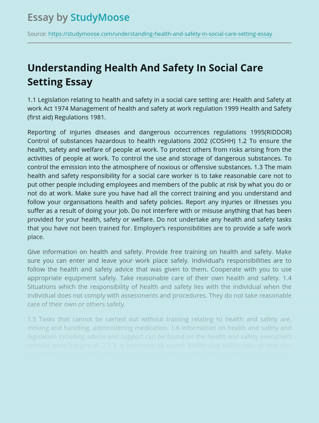 Understanding Health And Safety In Social Care Setting