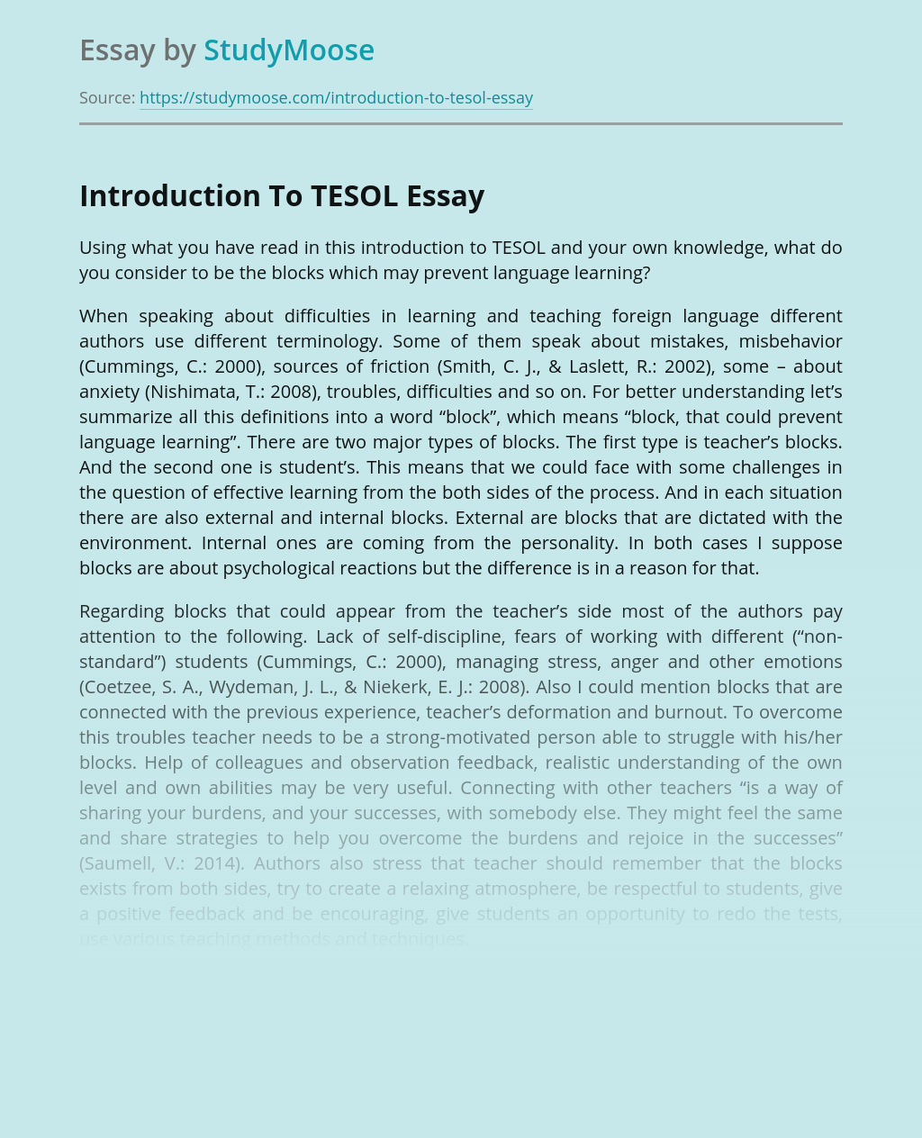 Introduction To TESOL