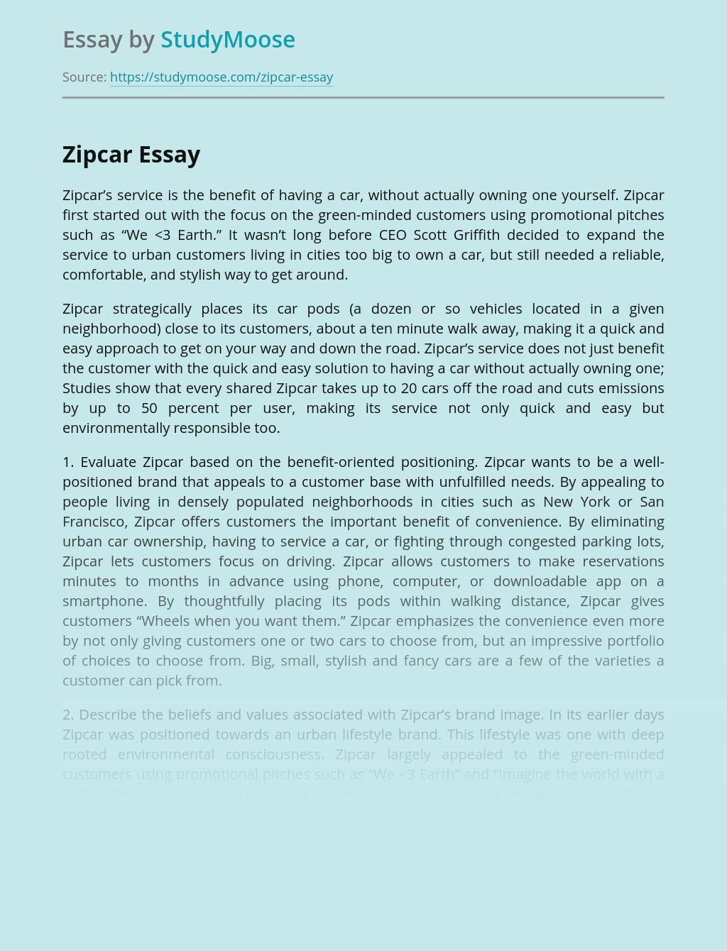 Environmental Awareness of Zipcar Company