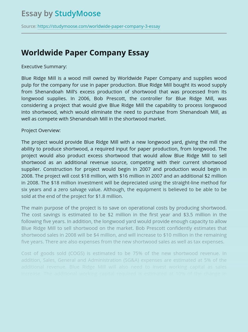 Worldwide Paper Company: Blue Ridge Mill Project Analysis