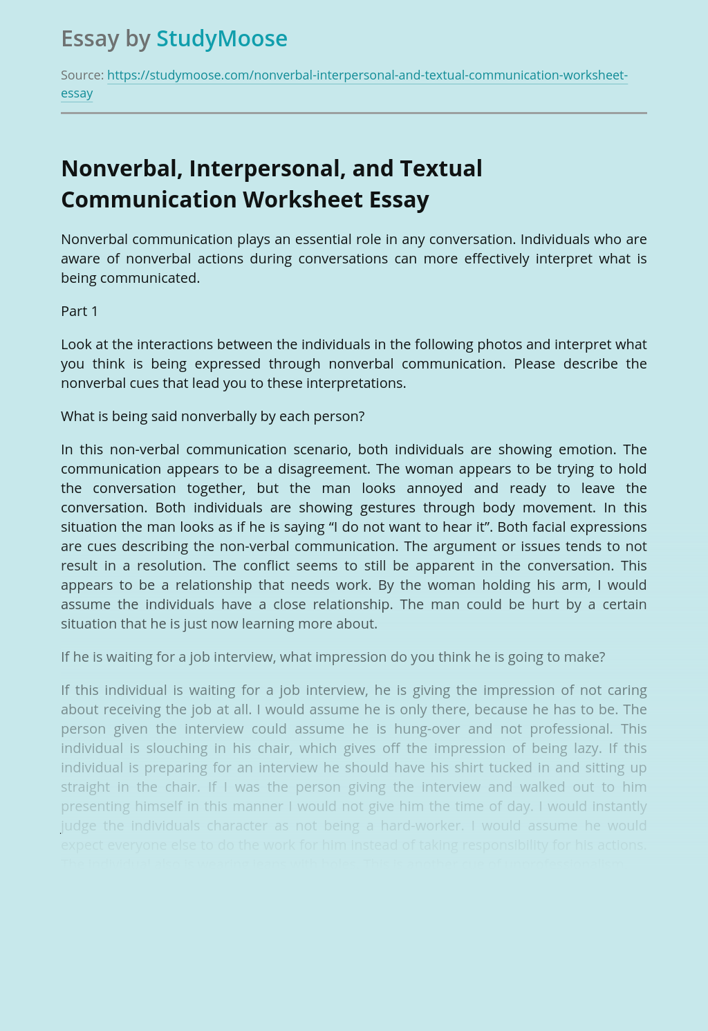 Nonverbal, Interpersonal, and Textual Communication Worksheet