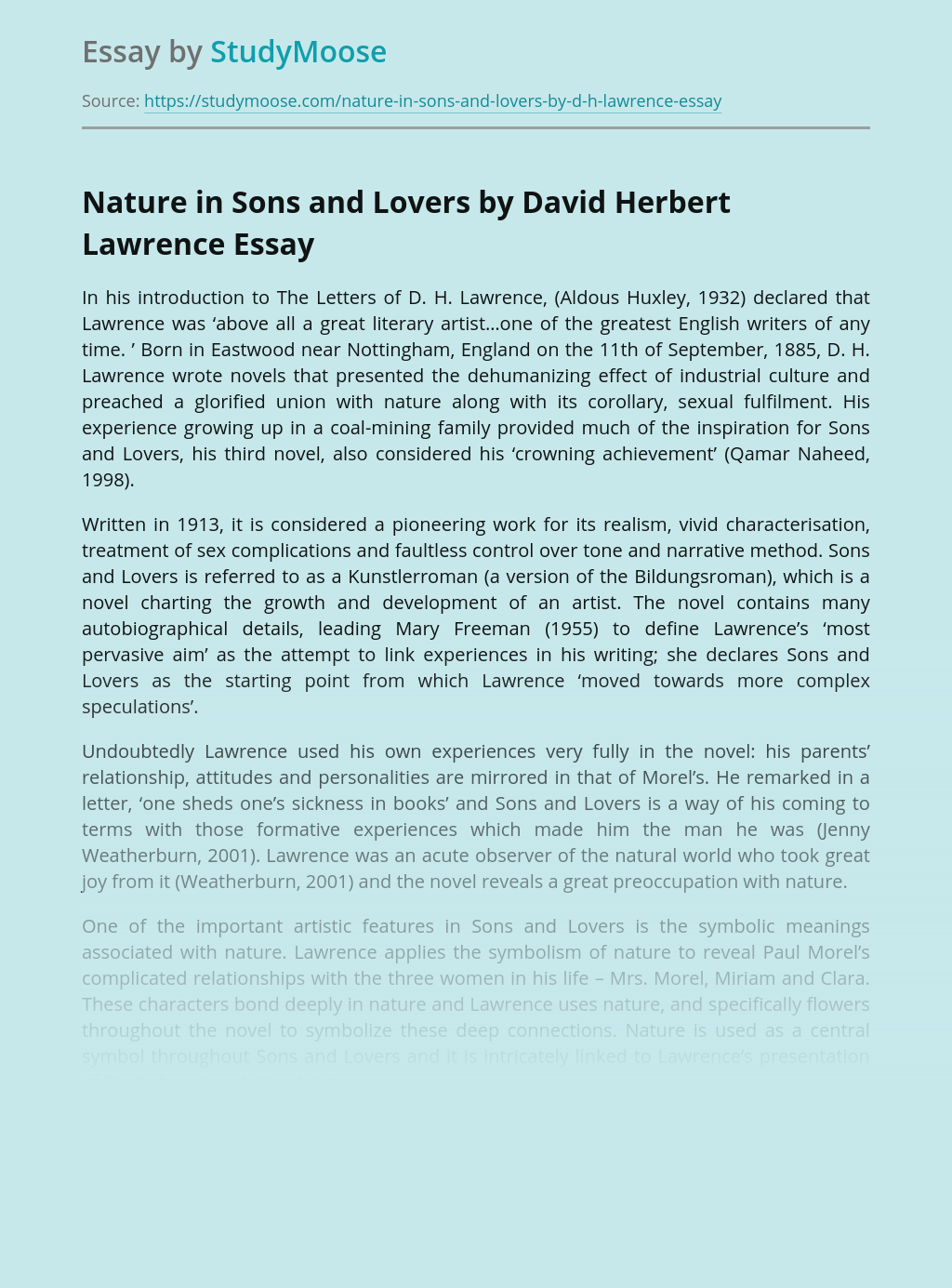Nature in Sons and Lovers by David Herbert Lawrence