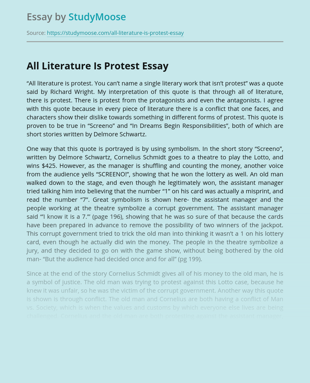 All Literature Is Protest