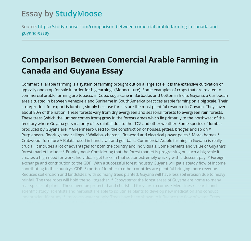 Comparison Between Comercial Arable Farming in Canada and Guyana