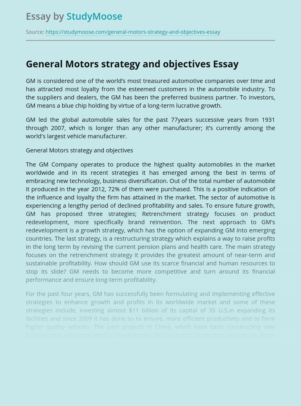 General Motors Strategy and Objectives
