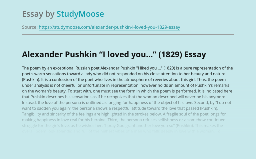 "Alexander Pushkin ""I loved you…"" (1829)"