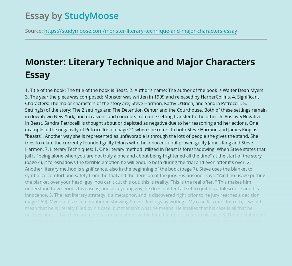 Monster: Literary Technique and Major Characters