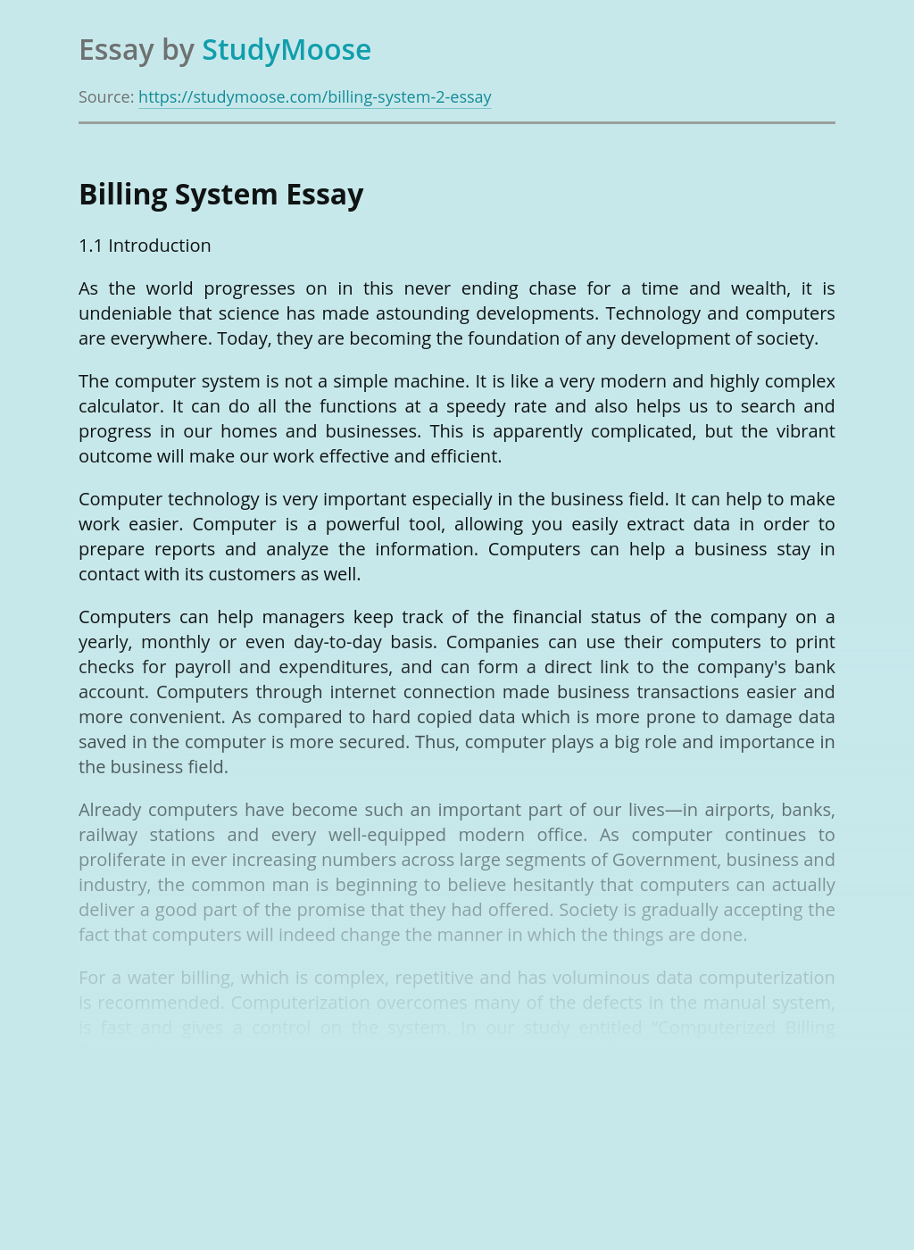 Critical Analysis of Billing System