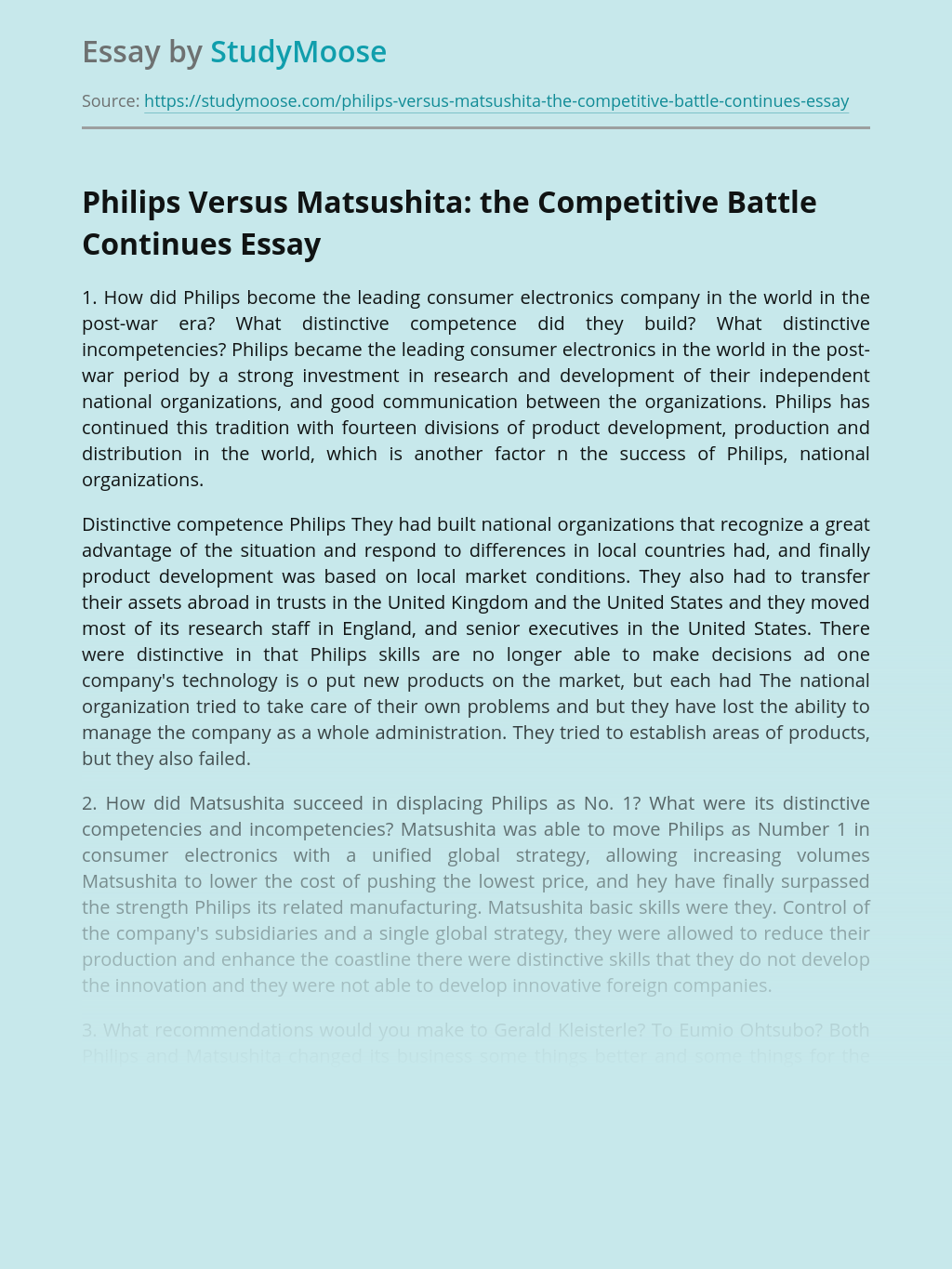 Competitive Battle of Philips and Matsushita Companies