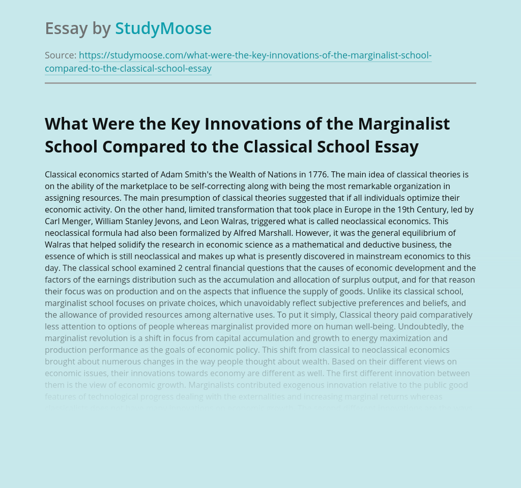 What Were the Key Innovations of the Marginalist School Compared to the Classical School