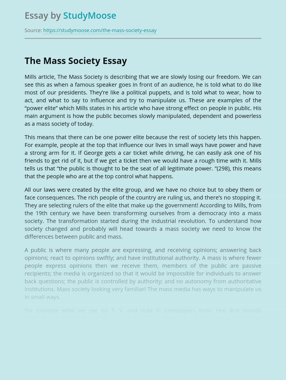 The Mass Society