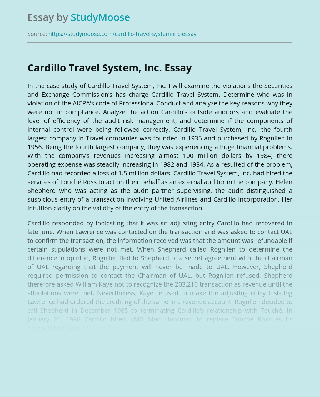 Cardillo Travel System, Inc.
