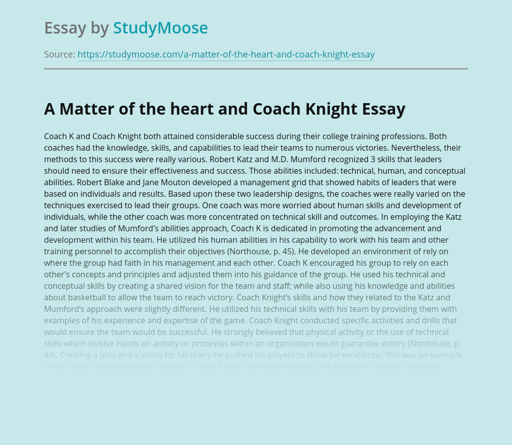 A Matter of the heart and Coach Knight