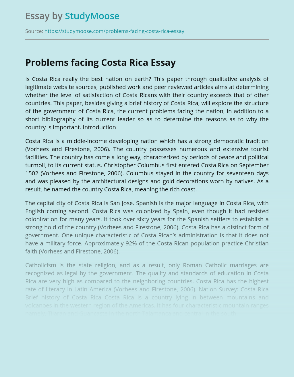 Problems facing Costa Rica