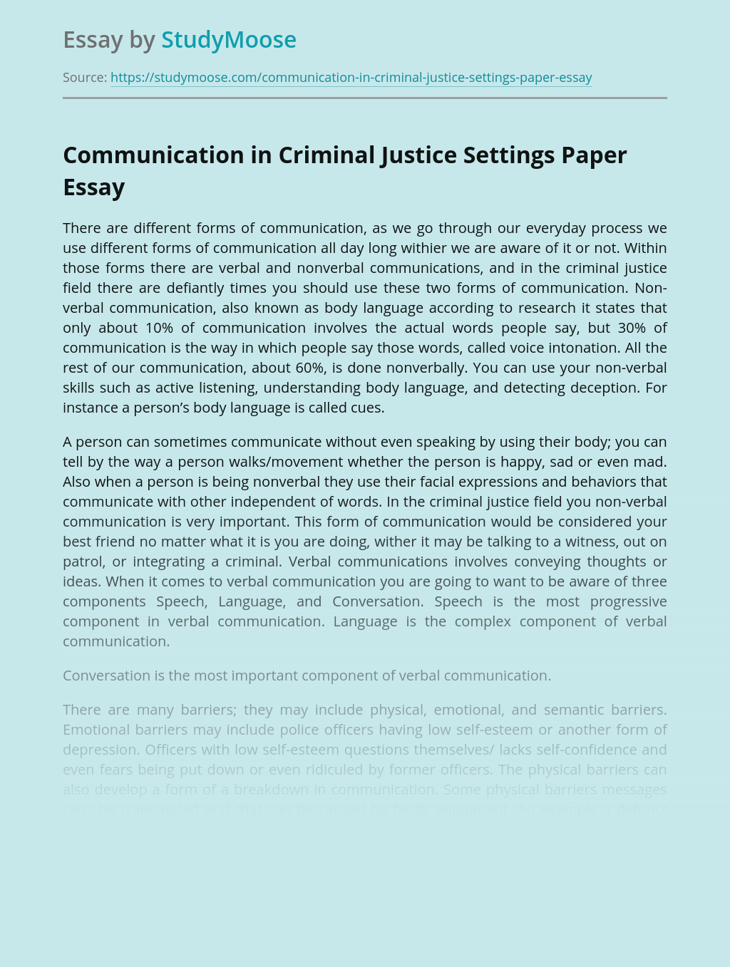 Communication in Criminal Justice Settings Paper