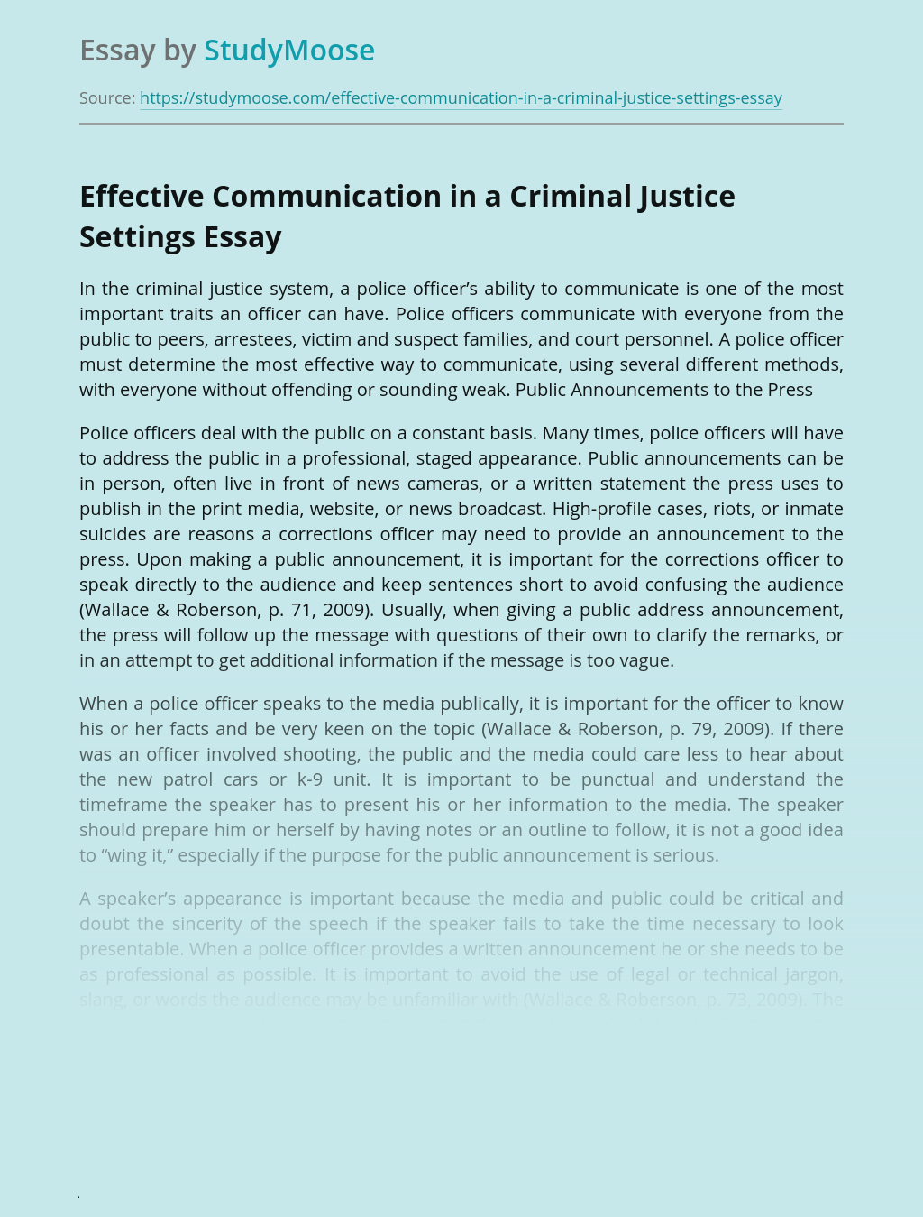 Effective Communication in a Criminal Justice Settings