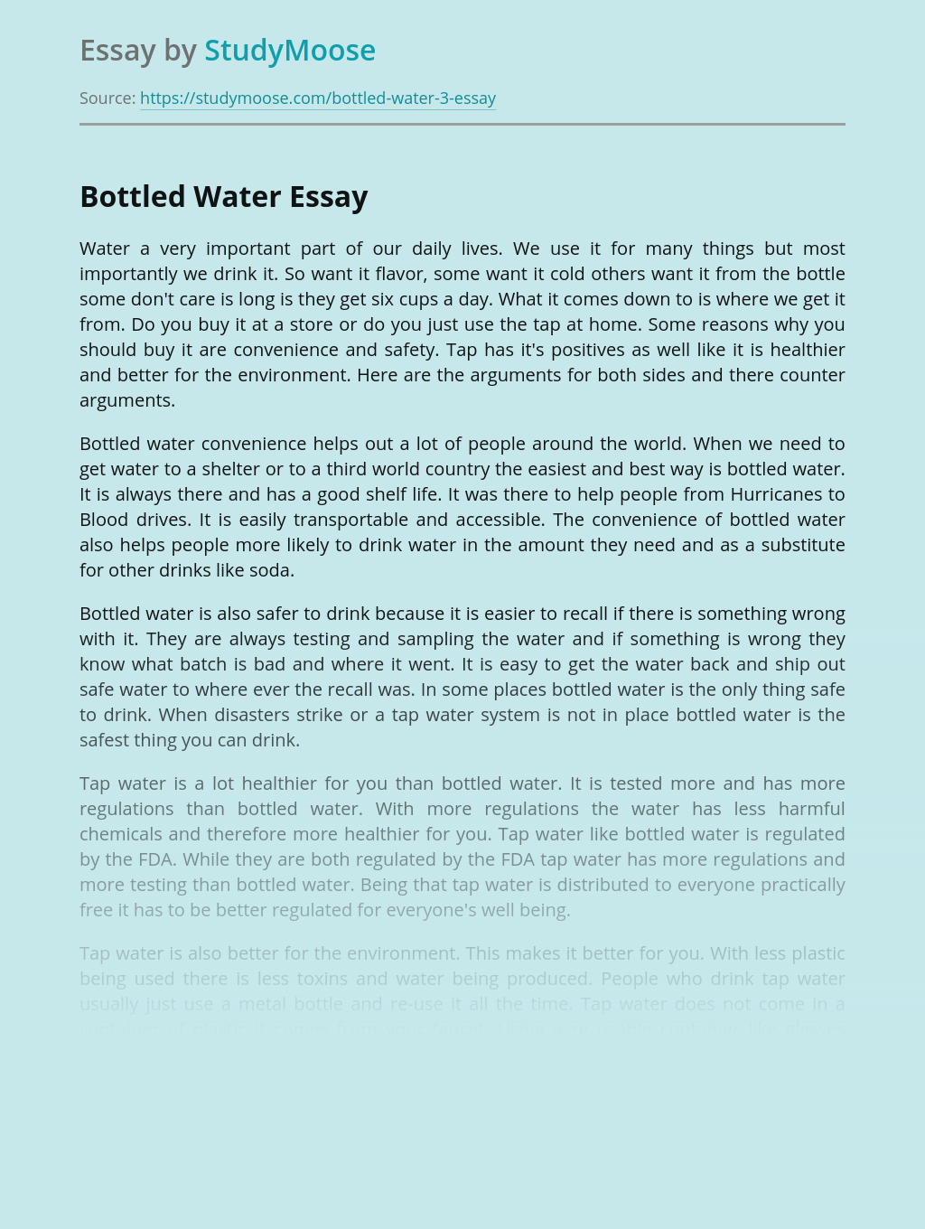 Convenience and Damage of Bottled Water