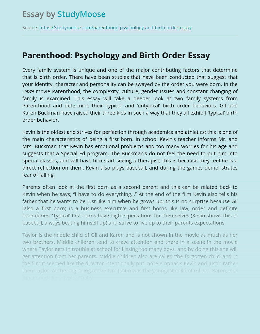 Parenthood: Psychology and Birth Order