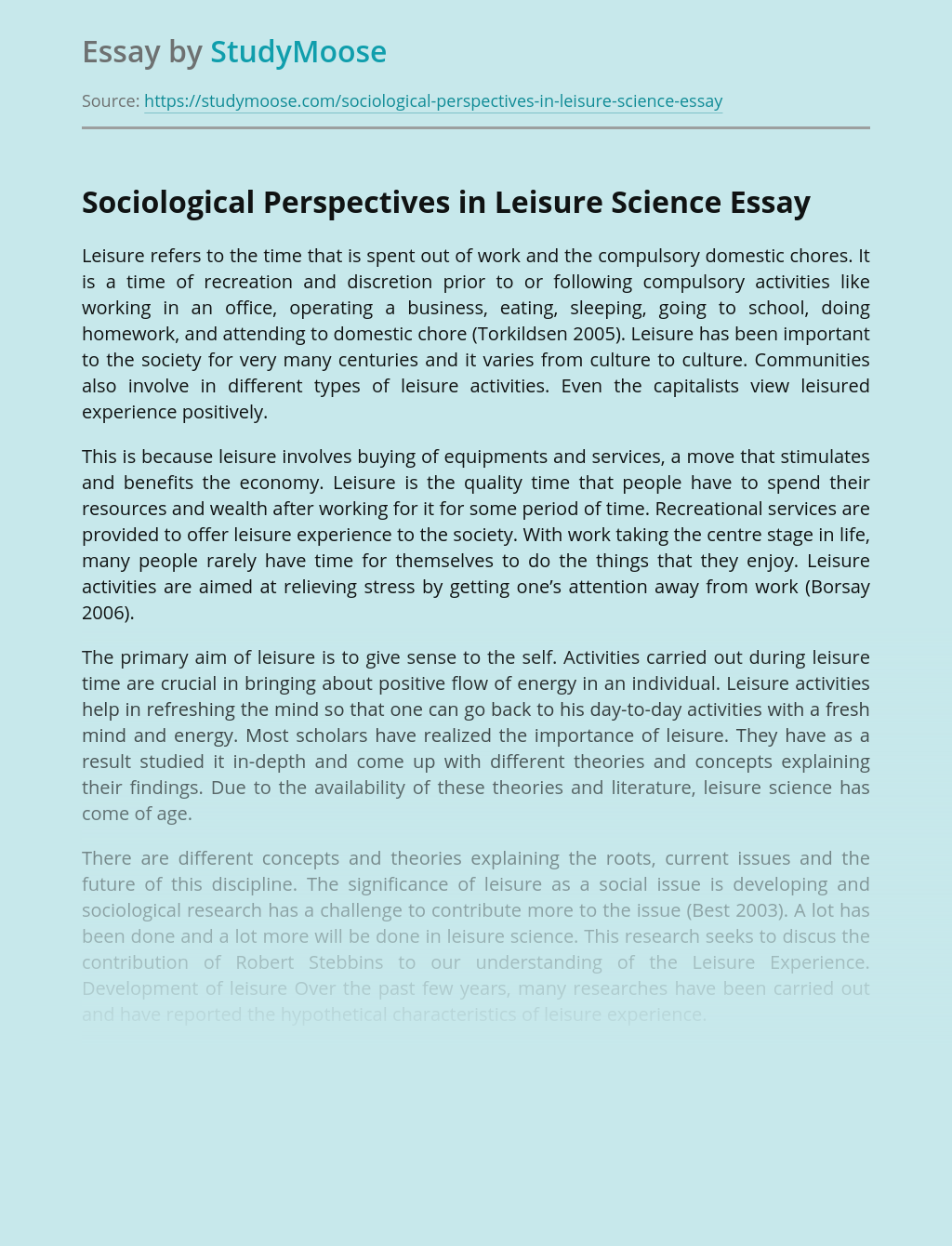 Sociological Perspectives in Leisure Science