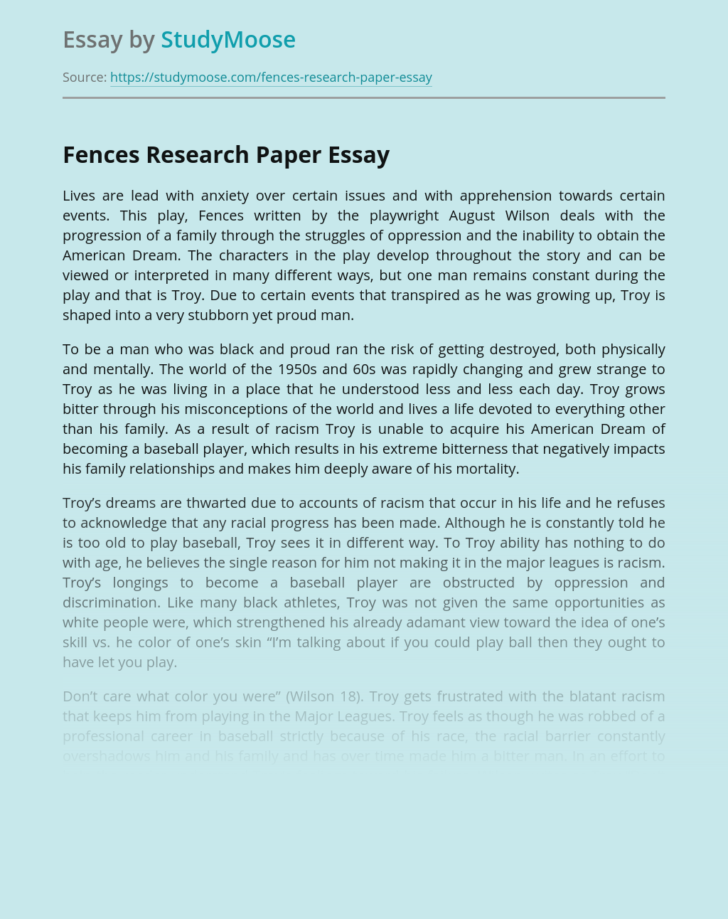 Fences Research Paper