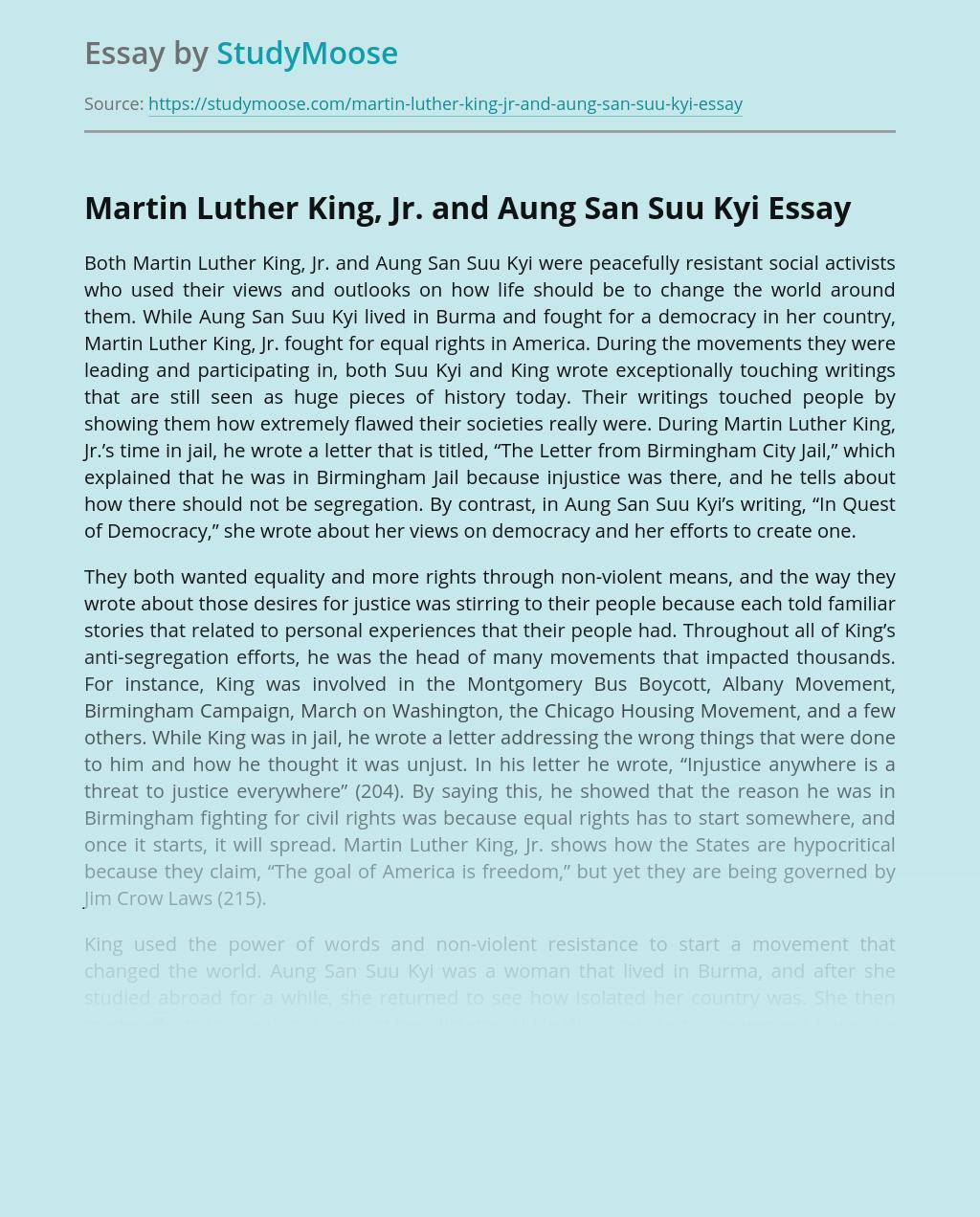 Martin Luther King, Jr. and Aung San Suu Kyi