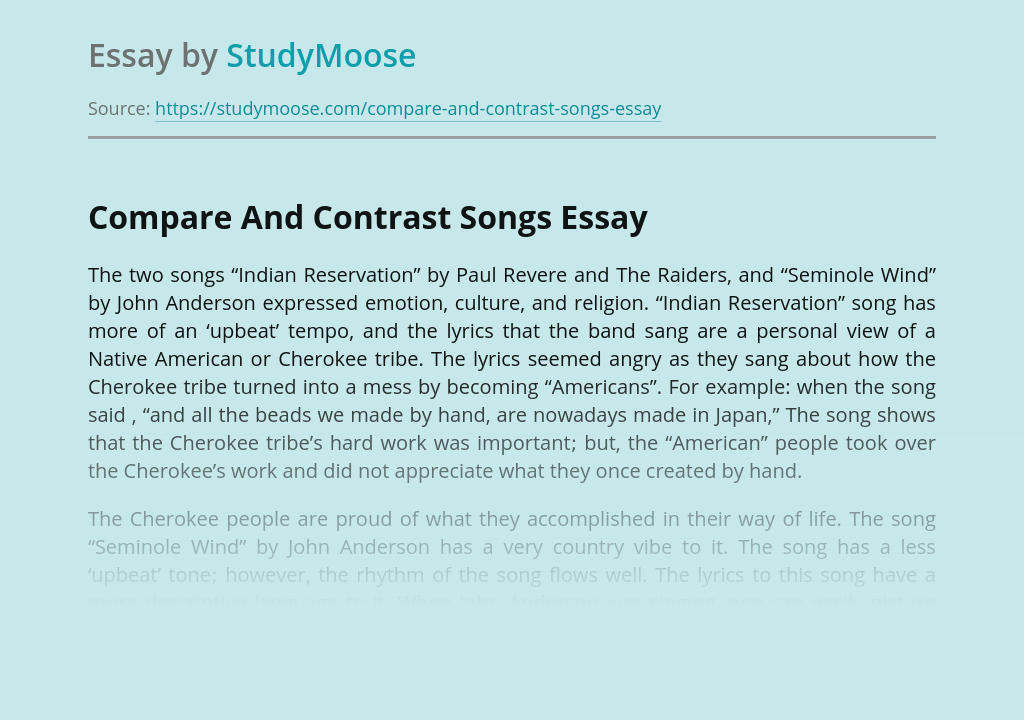 Compare And Contrast Songs