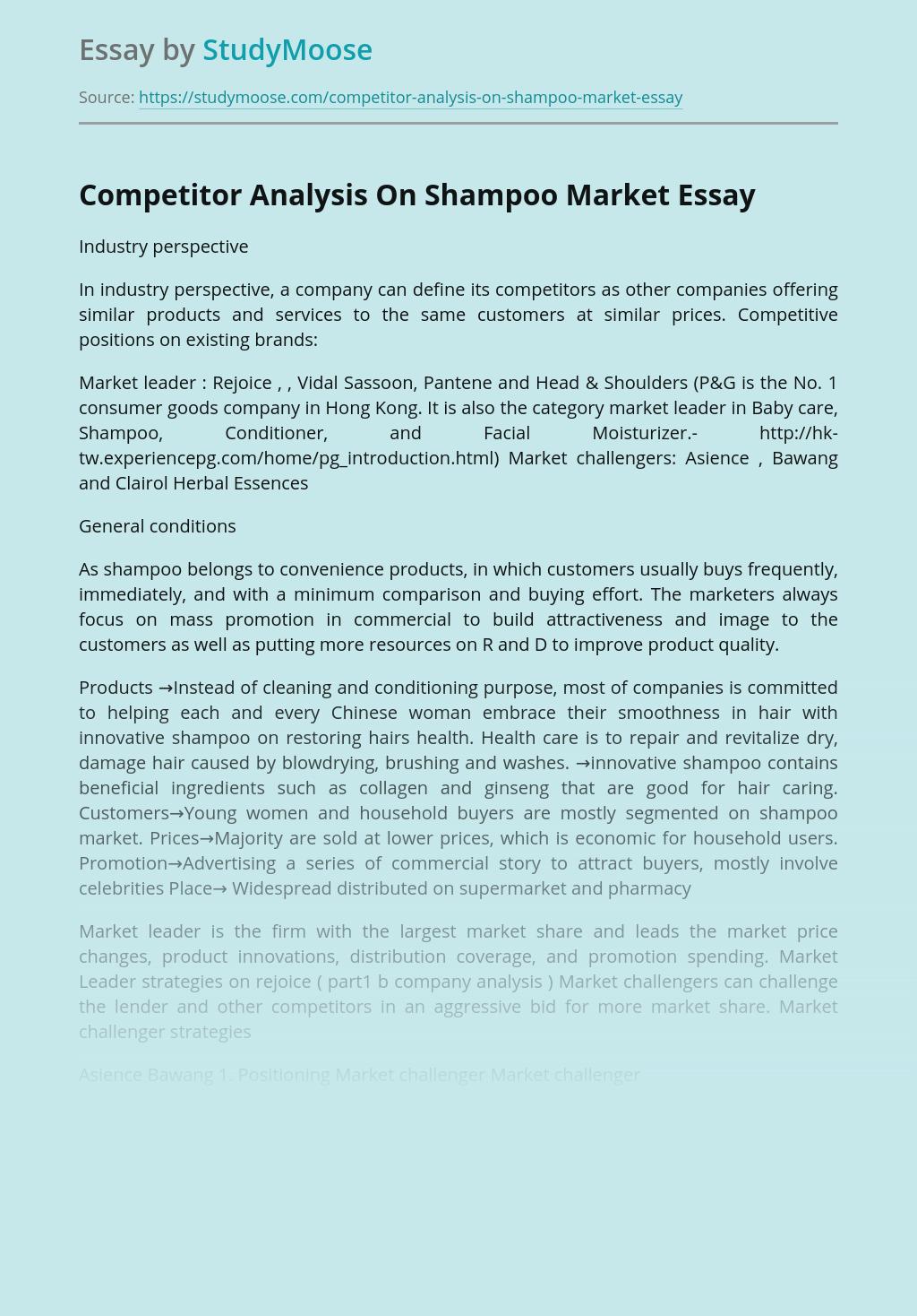 Competitor Analysis On Shampoo Market