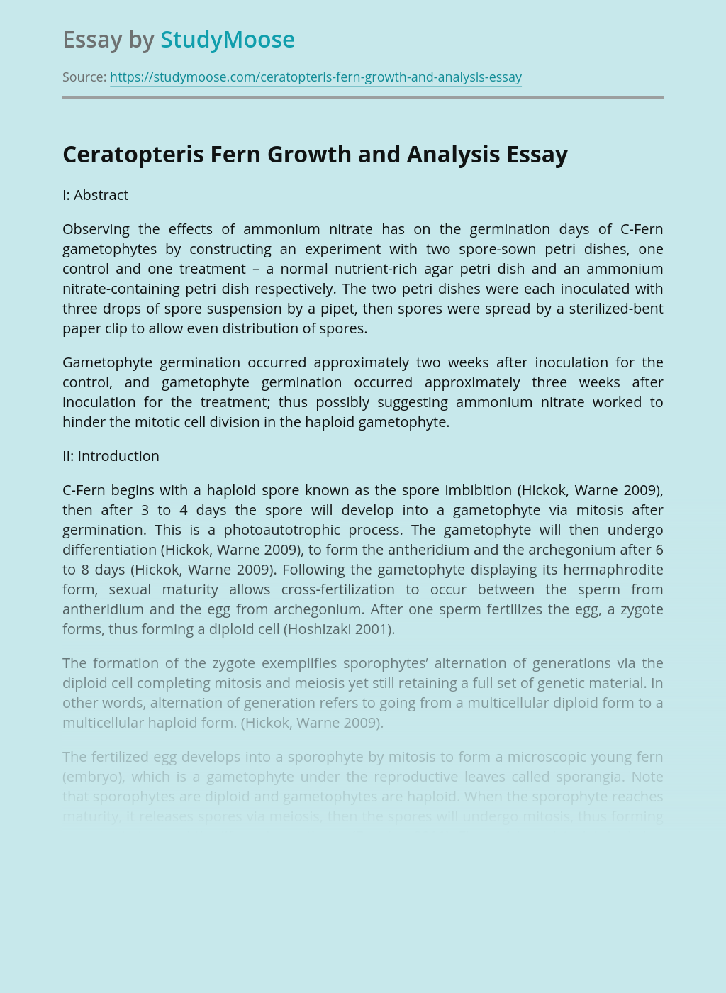 Ceratopteris Fern Growth and Analysis