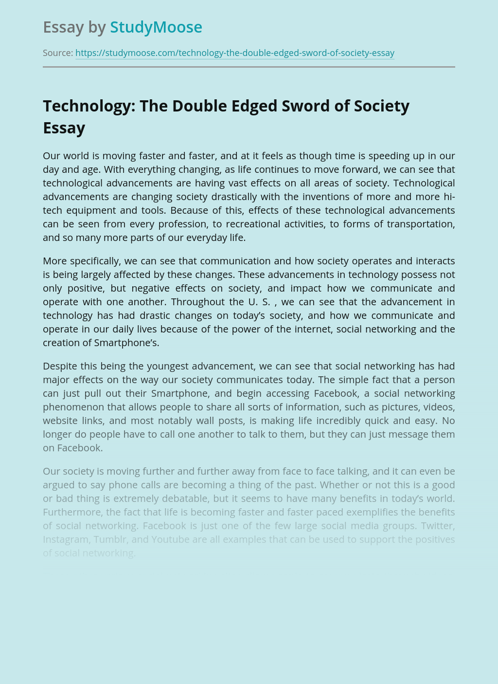 Technology: The Double Edged Sword of Society