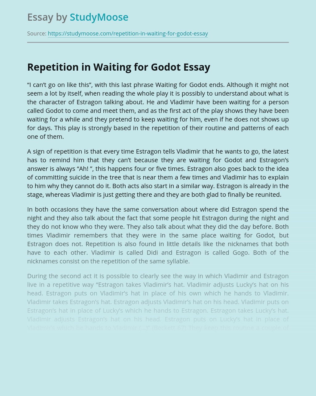 Repetition in Waiting for Godot