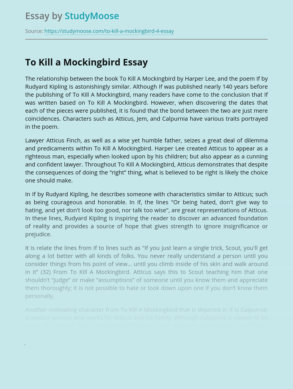 To Kill a Mockingbird vs If by Rudyard Kipling