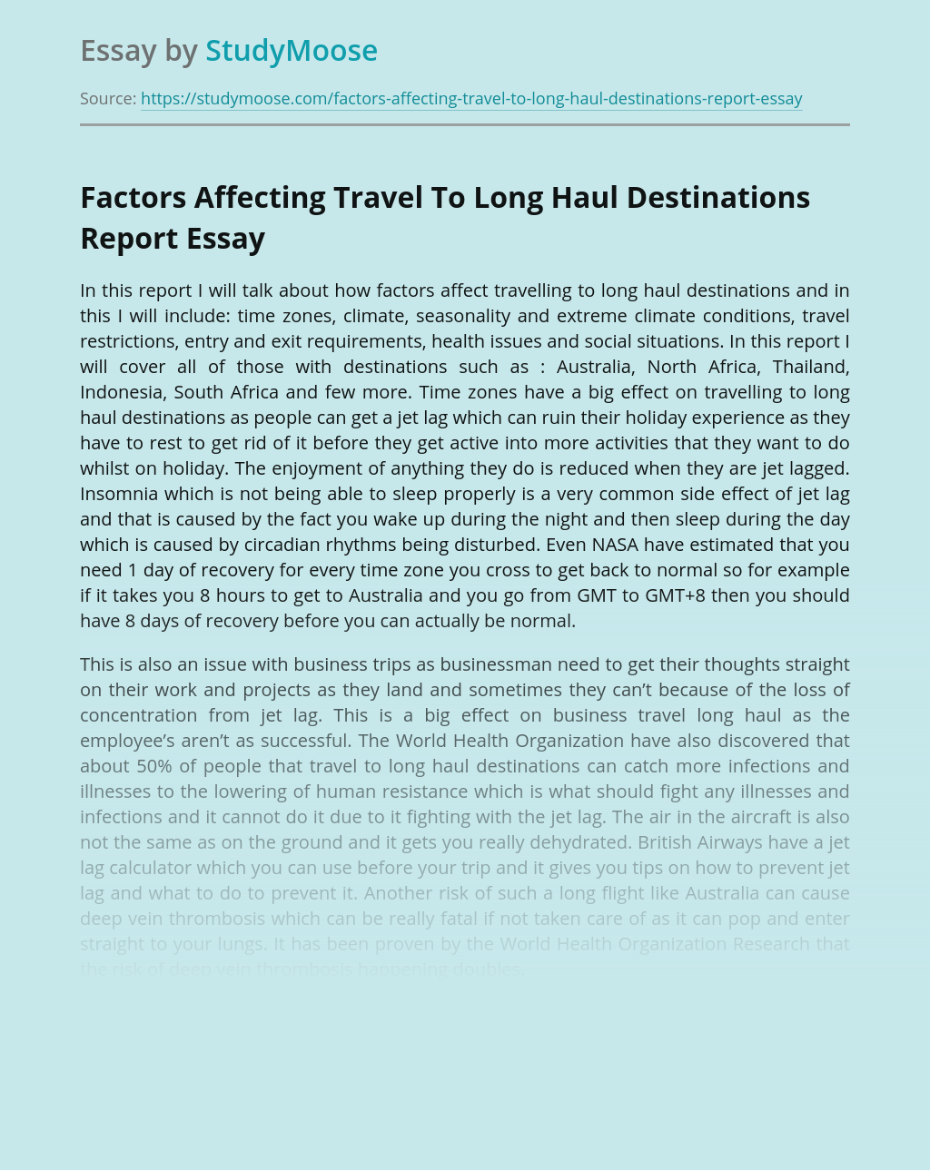 Factors Affecting Traveling To Long Haul Destinations
