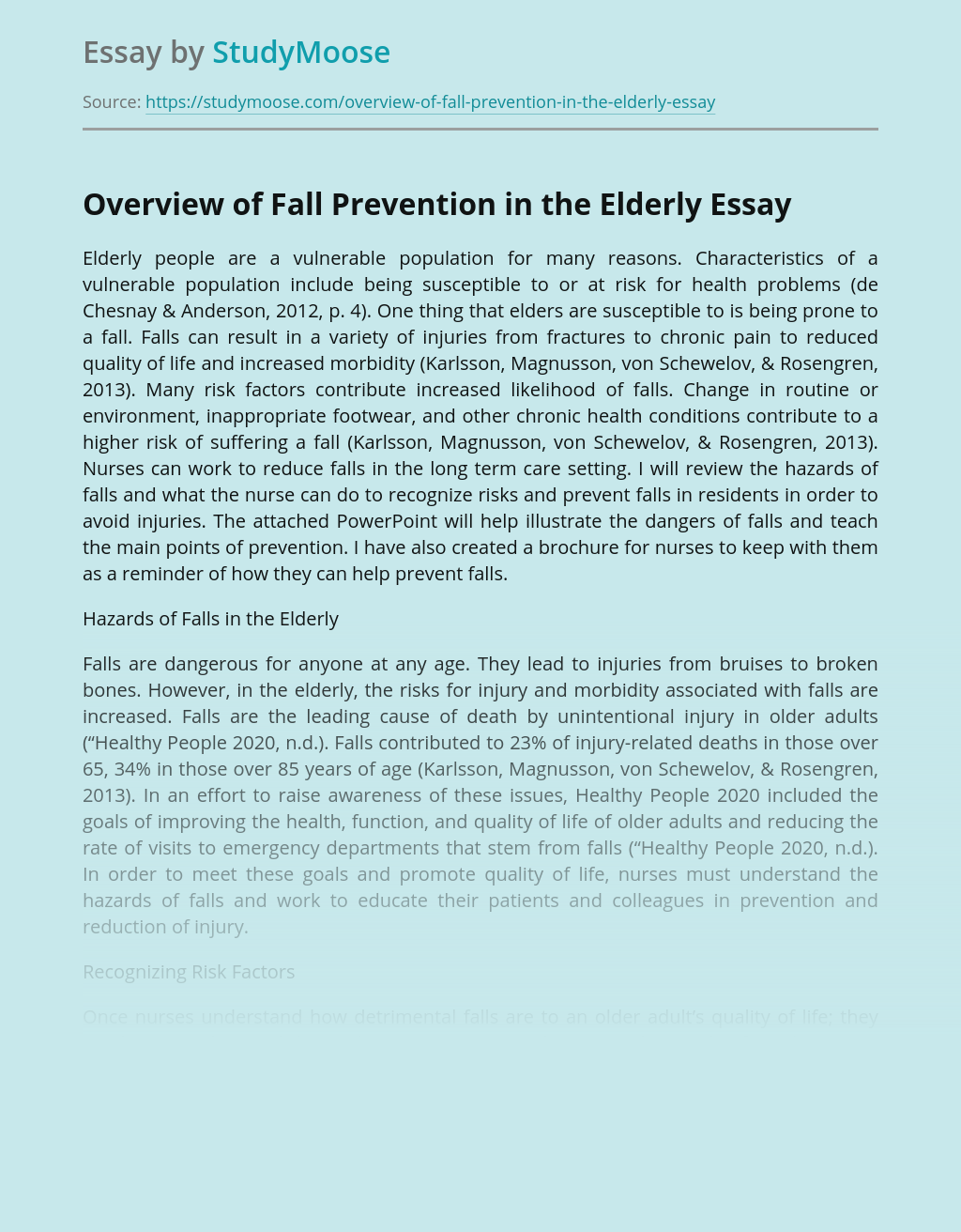 Overview of Fall Prevention in the Elderly
