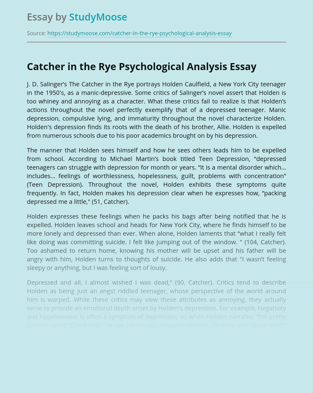 Catcher in the Rye Psychological Analysis