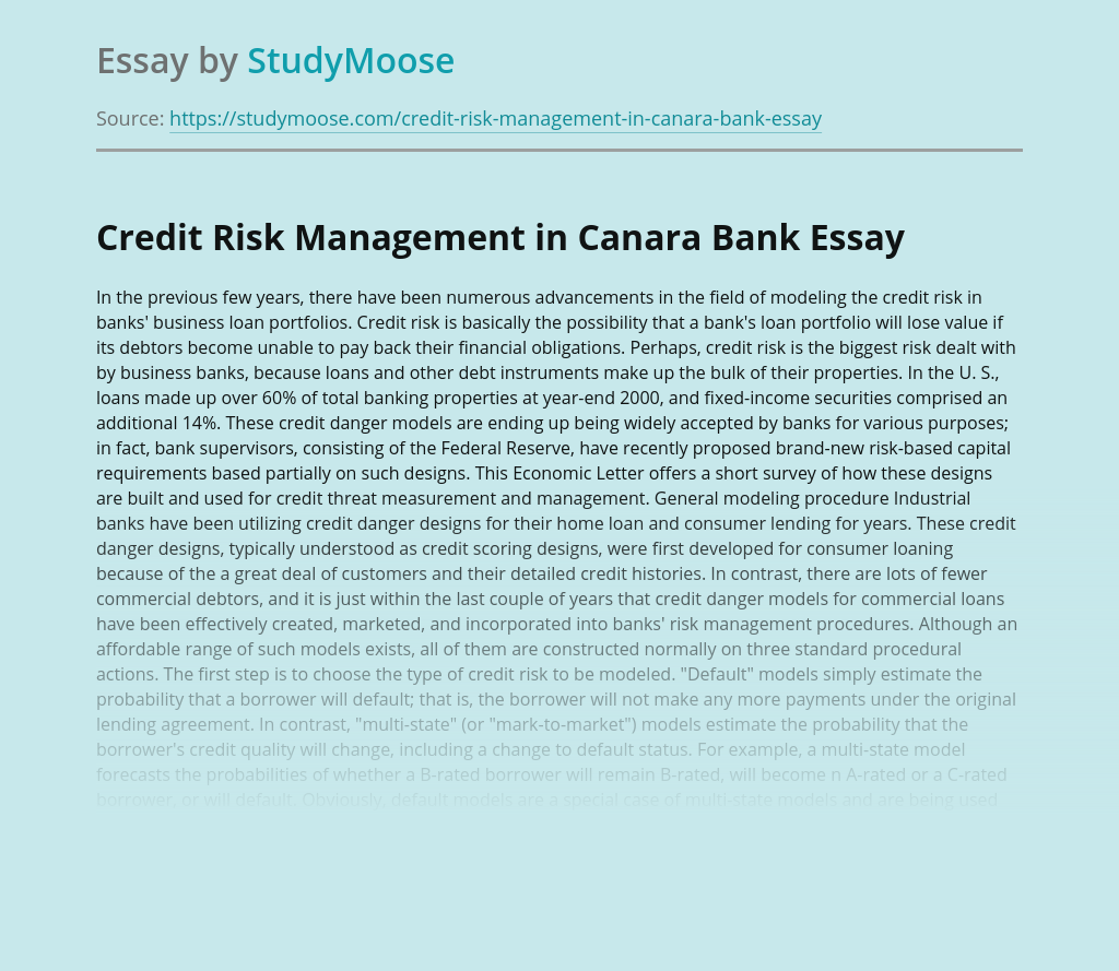 Credit Risk Management in Canara Bank