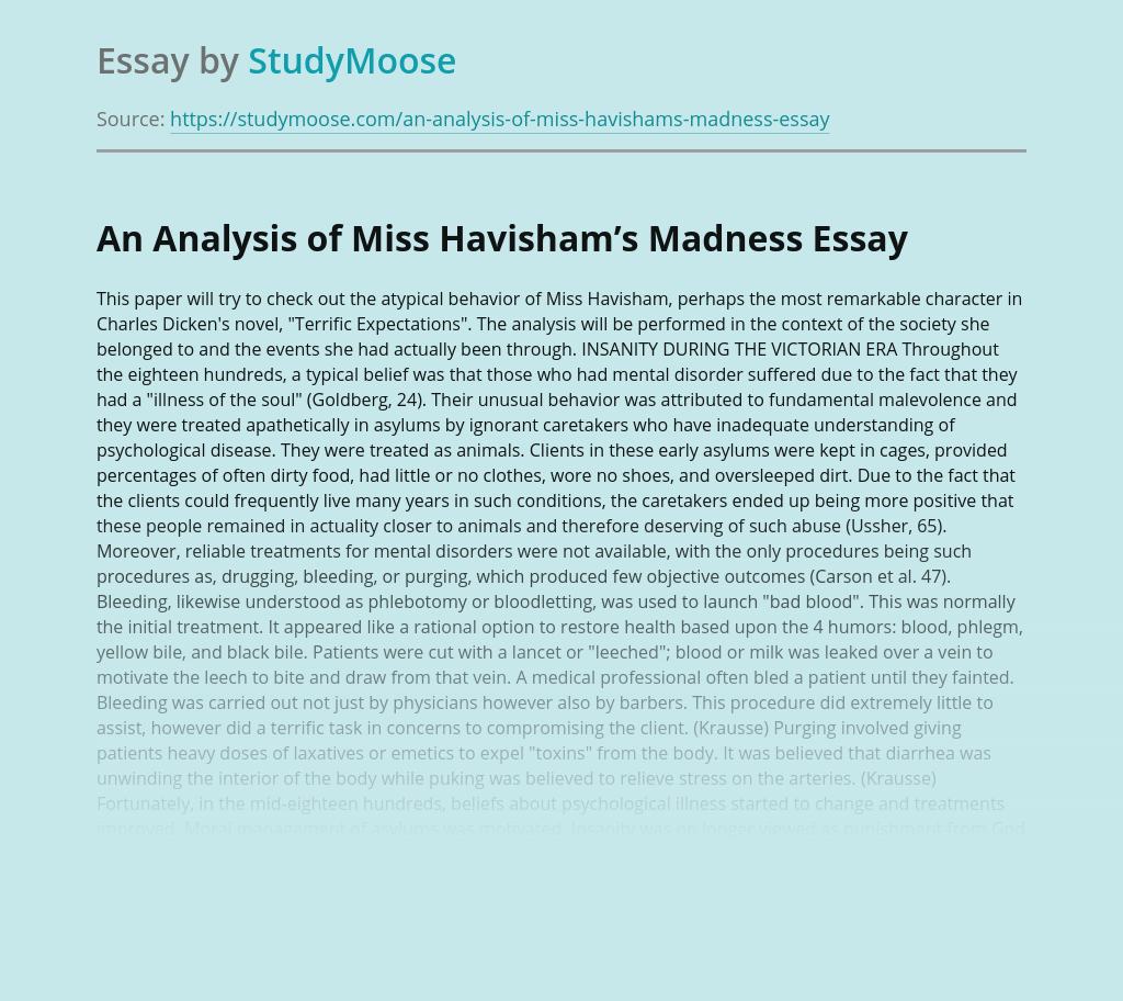 An Analysis of Miss Havisham's Madness