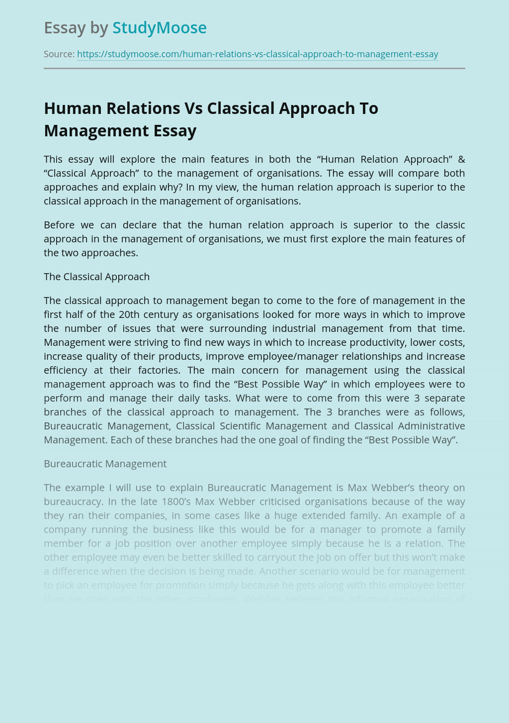 Human Relations Vs Classical Approach To Management