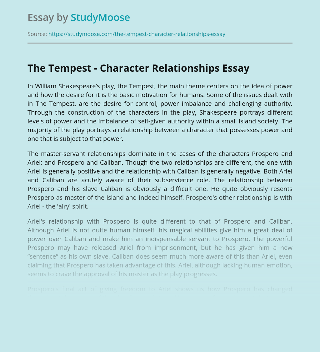 The Tempest - Character Relationships
