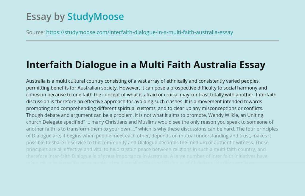 Interfaith Dialogue in a Multi Faith Australia