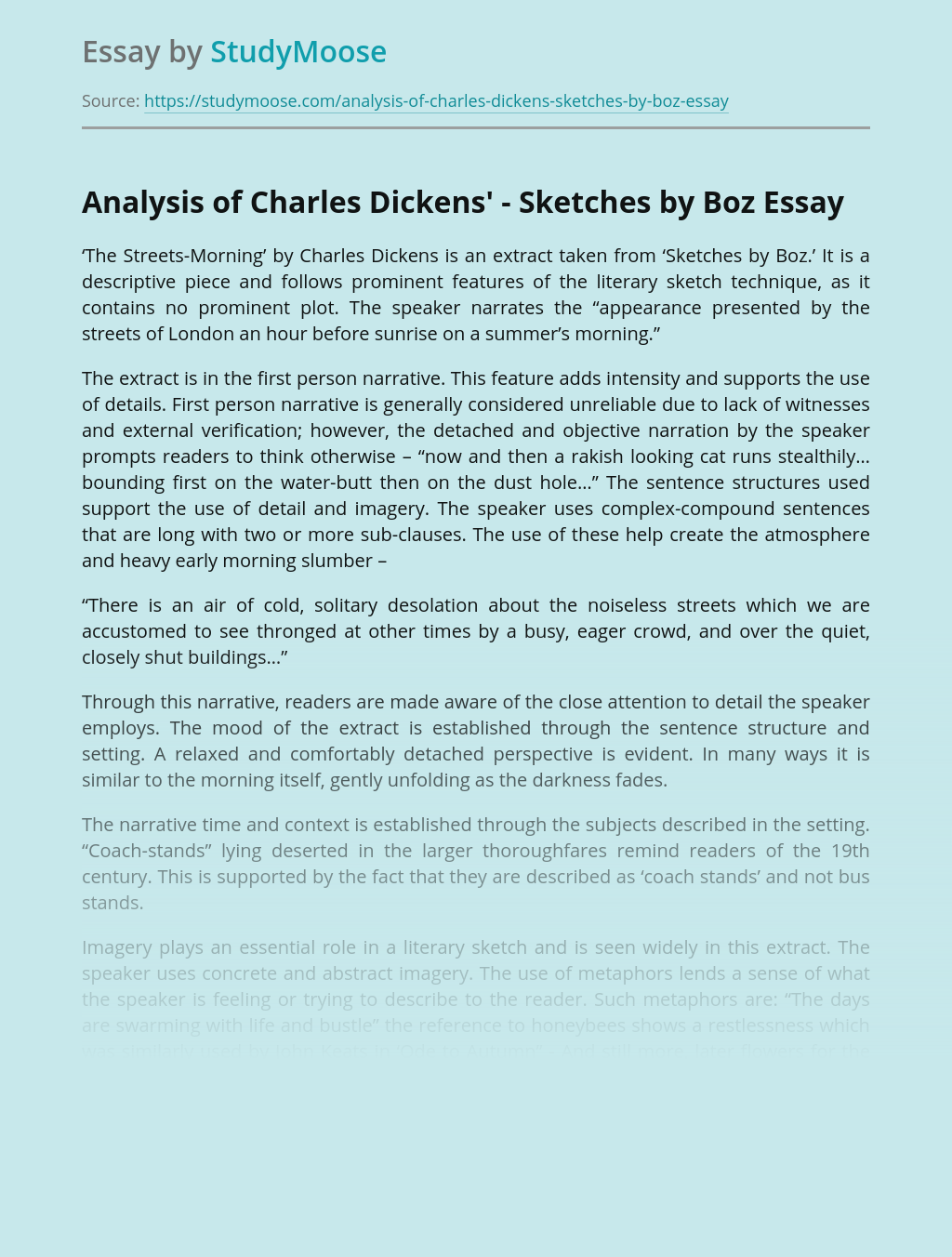 Language of Charles Dickens' Sketches by Boz