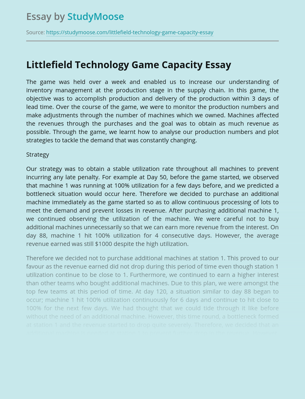 Littlefield Technology Game Capacity
