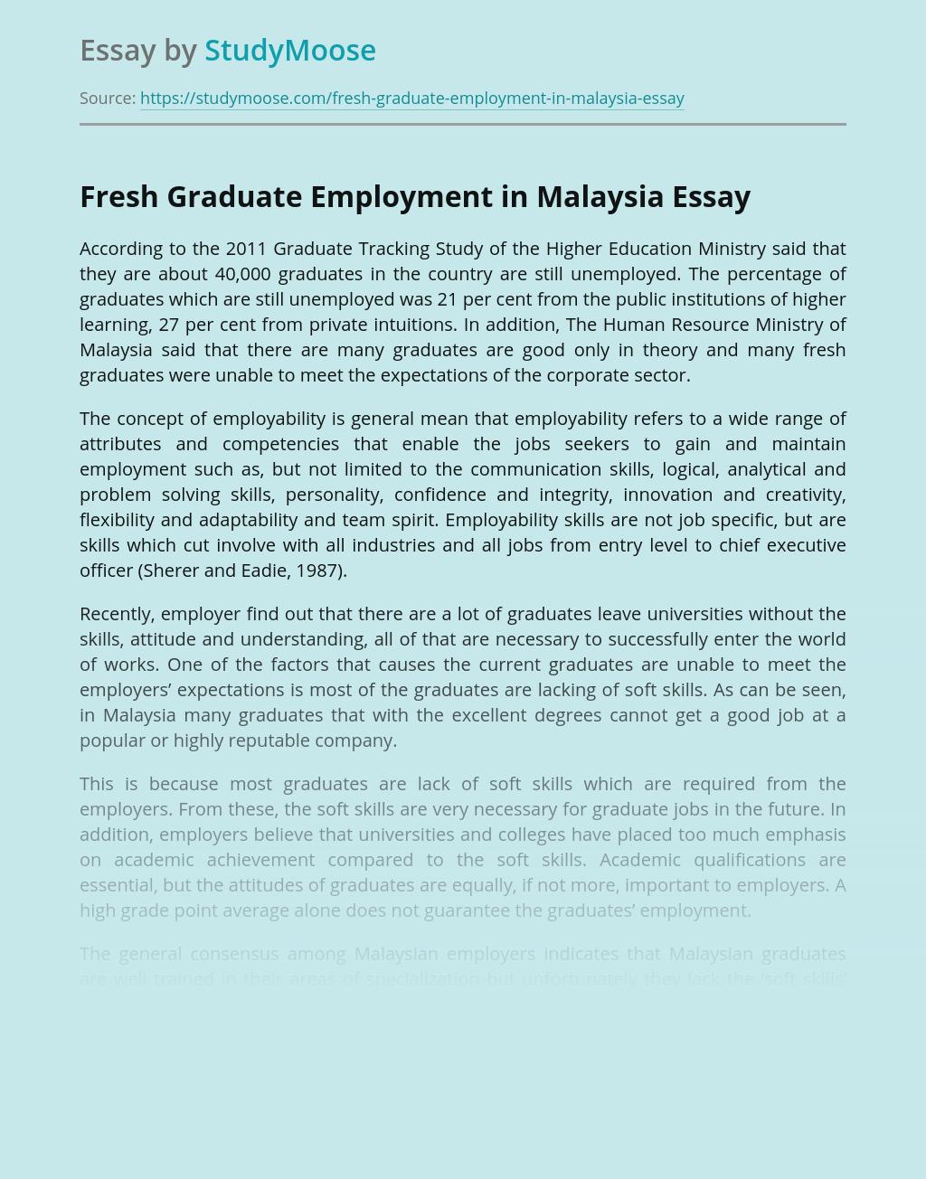 Fresh Graduate Employment in Malaysia